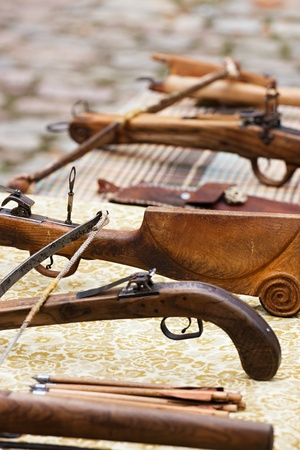 Detail of historic wooden crossbow photo