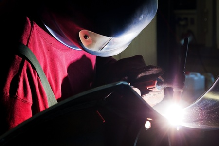 Welding in protective atmosphere of gases Stock Photo