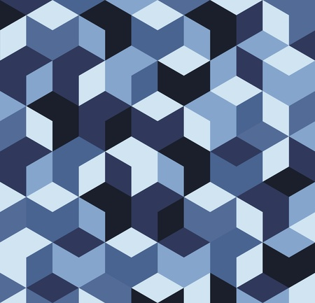 temlate: Vector illustration of multicolored blue cubes on background