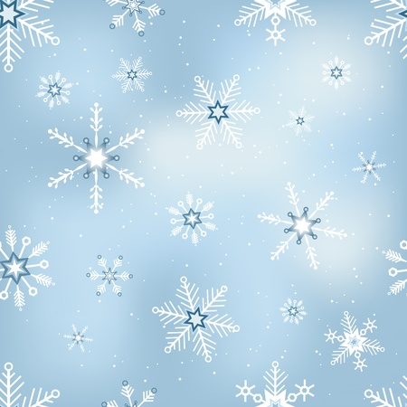 Collection of blue snowflakes with different shapes photo
