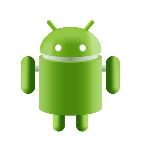 Android Robot verde sobre un fondo blanco