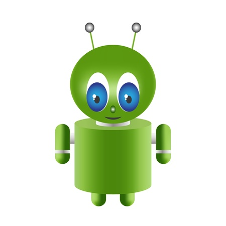 Green alien cartoon on a white background Stock Photo - 11296149