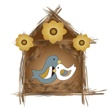 Two birds in their cozy little nest Stock Photo - 11296161