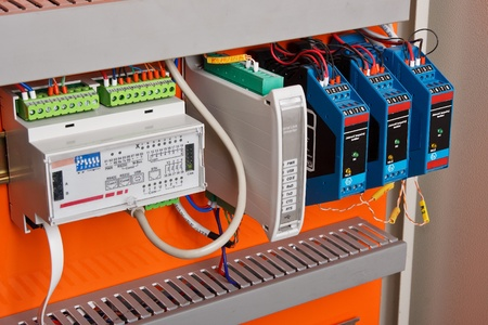 standard steel: New control panel with static energy meters and circuit-breakers (fuse)