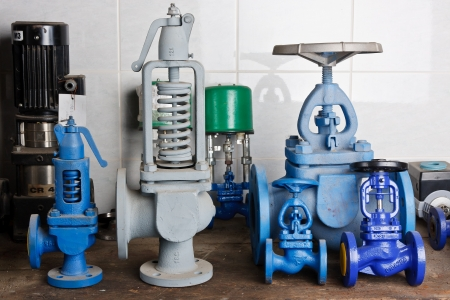 flanges: Pressure valves  Stock Photo
