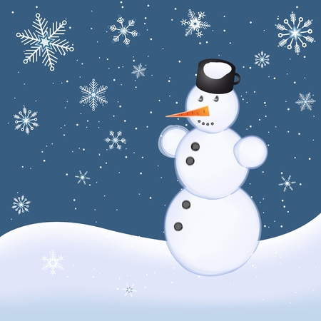Christmas illustration with snowman on snowy hillside Stock Illustration - 11296153