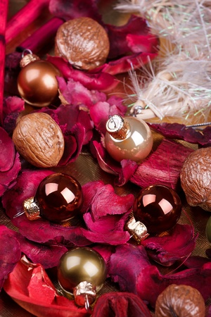 Christmas decoration with balls and walnuts photo