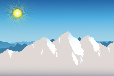 thaw: Spring in the Mountains with blue sky and sun.