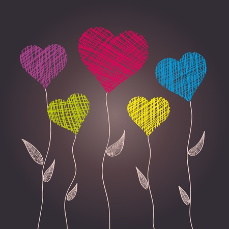 Abstract heart flowers Stock Photo