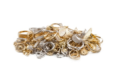 Gold jewelry on a white background 版權商用圖片 - 13223222