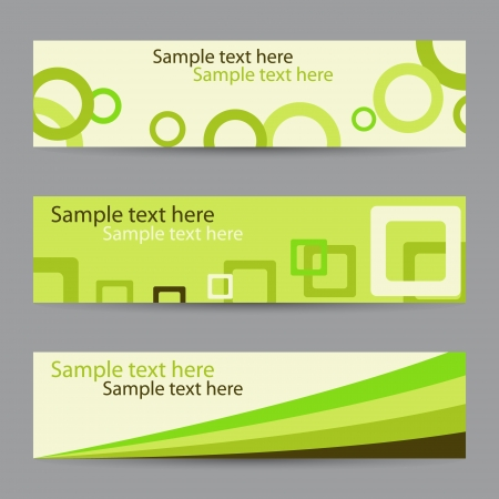 Collection of green horizontal banners with circles, squares and ribbon   photo