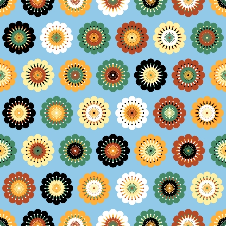 never ending: Multicolored funky flowers abstract seamless pattern on blue background  Vector Stock Photo