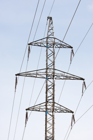 Electrical powerlines against a background of the sky  Stock Photo - 14971468