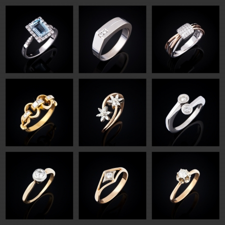 Set of diamond rings on a black background