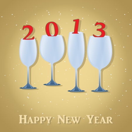 New Year 2013 Celebration - Stylish Wine Glass  Vector illustration  Eps 10 Stock Illustration - 15788024