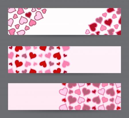 rectángulo: Colecci�n de tres banderas con los corazones. Plantilla de tarjeta de San Valent�n en el vector.