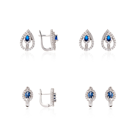 Silver jewelry on a white background photo