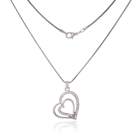 Silver chain and pendant in the shape of heart photo