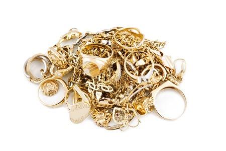 Gold Schmuck auf wei?em Hintergrund Standard-Bild - 23114437