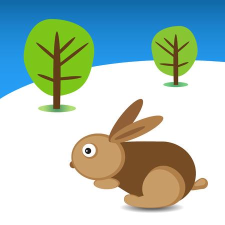 coniglio di pasqua: Coniglio di Pasqua e gli alberi sullo sfondo Vettoriali