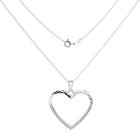 Silver necklace and pendant in the shape of heart