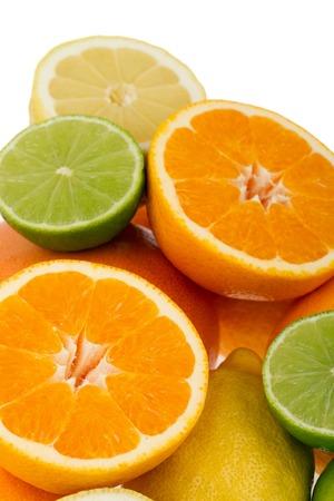 Colorful Citrus Fruits isolated on white background