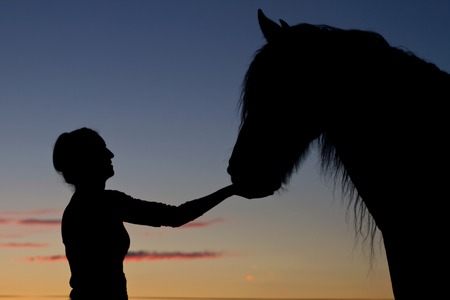 Silhouette girls and horses at sunset photo