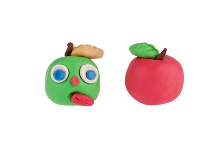 modelling: Apples made of plasticine