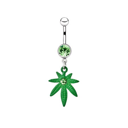 Silver piercing in the shape of marijuana photo
