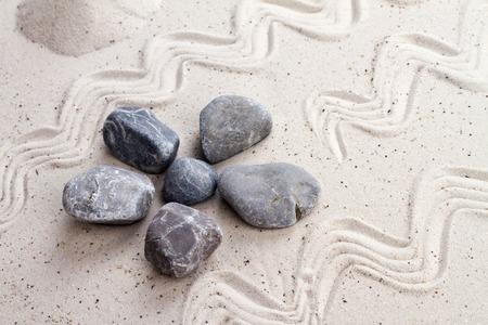 Zen garden with sand stones photo