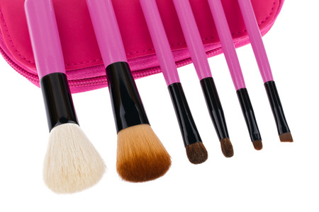Professional make-up brush cosmetic isolated on white background photo