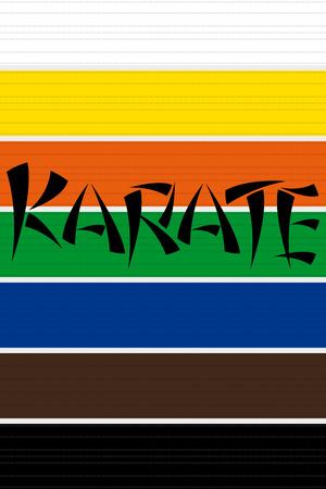 tilt: Collection of Karate or other martial art belts Illustration
