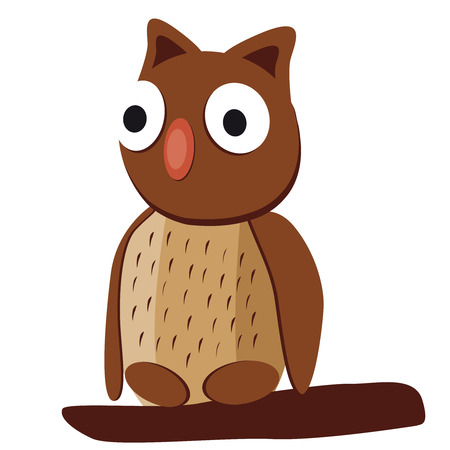 apt: Cute brown owl with big eyes on a white background