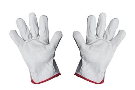 guantes: Guantes de trabajo aislados sobre fondo blanco Foto de archivo