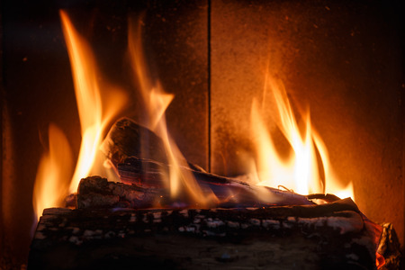 Fireplace. Detail of home interior. Stock Photo