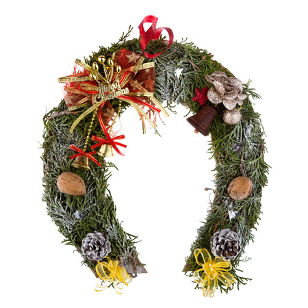 christmas wreath made of moss in the shape of a horseshoe isolated on white background stock - Horseshoe Christmas Wreath