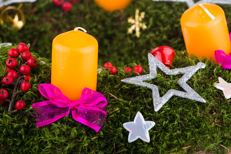 advent wreath: Advent wreath with candles for the pre Christmas time Stock Photo