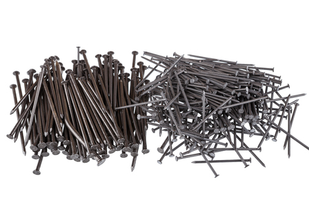 simple store: Pile of nails on a white background