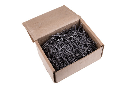 simple store: Nails in a box on a white background