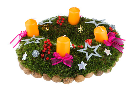 advent wreath: Christmas advent wreath with candles on white background