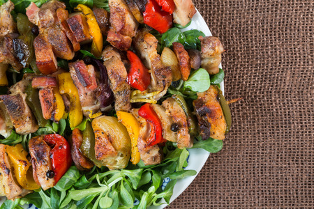 meat skewers: Grilled meat skewers on a plate with vegetables