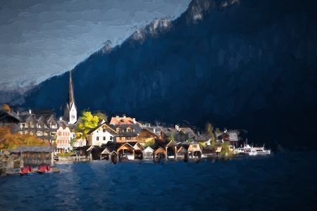 lake district: Oil painting austria landscape - village Hallstatt. Hallstatt See (lake district) Austria. Hallstatt village is UNESCO World Heritage Site for Cultural Heritage.