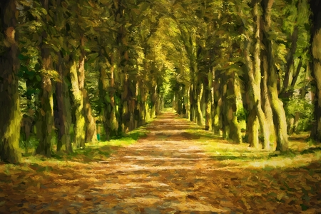 Oil painting pathway through the autumn forest. Original oil painting on canvas.