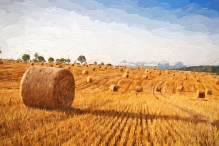 Oil painting summer landscape - hay bales on the field after harvest. Original oil painting on canvas.