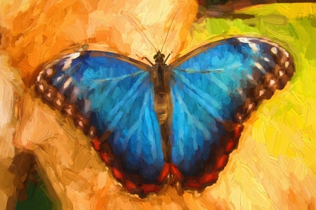 blue butterfly: Oil painting blue butterfly