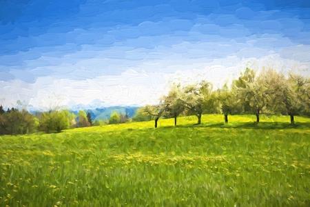 Olieverfschilderij lente landschap - groene weide en fruitbomen. Origineel olieverfschilderij op doek.