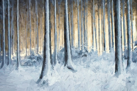 snow forest: Oil painting snowy trees in the winter forest