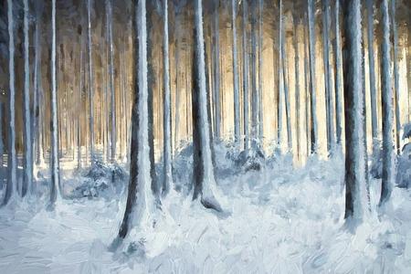 pittura a olio alberi innevati nella foresta d'inverno