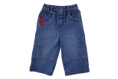 jeanswear: Childrens denim pants, Childrens blue jeans isolated on white background
