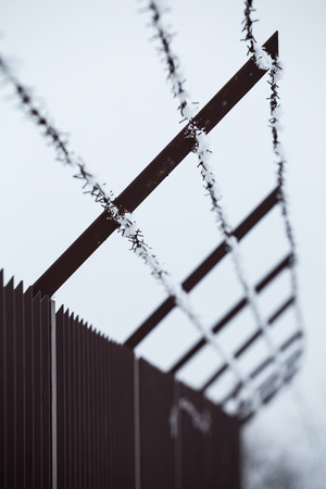 ice crystals: High fence and barbed wire with ice crystals on a winters day Stock Photo